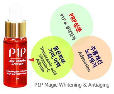 P1P기능성앰플은 혈소판유래 안티에이징물질로 만들어진 미백,주름개선용 기능성화장품입니다.