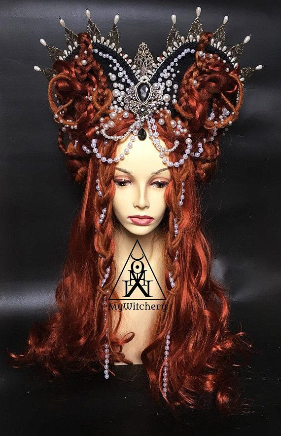 This carnival queen headpiece with ginger wig in Tudor styled hair-do    fantasy crown was made to order and we use the pictures as example  8f0c67e06