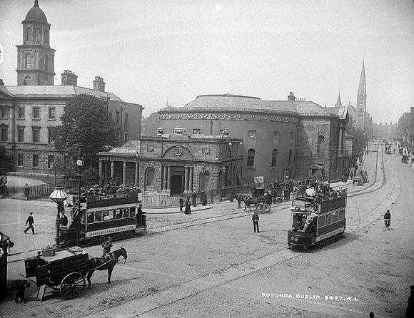 The Rotunda, at the top of O'Connell Street, Dublin. Now the Ambassador Cinema. Unknown year.