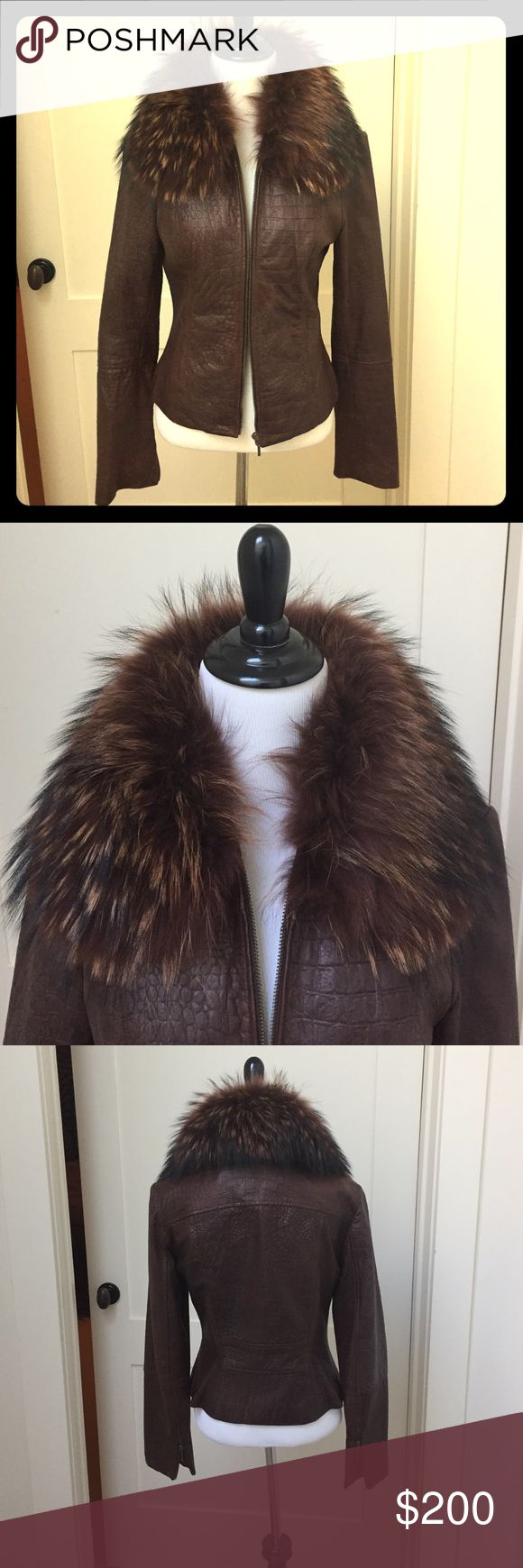 "Lillie Rubin leather jacket Gorgeous chocolate brown crocodile embossed leather jacket with detachable fox fur collar. Fitted and thin and looks beautiful on. Zipper front. Very expensive looking. 21"" center back. 25"" sleeves with zippers. Gently worn. Superb condition. lillie Rubin Jackets & Coats"
