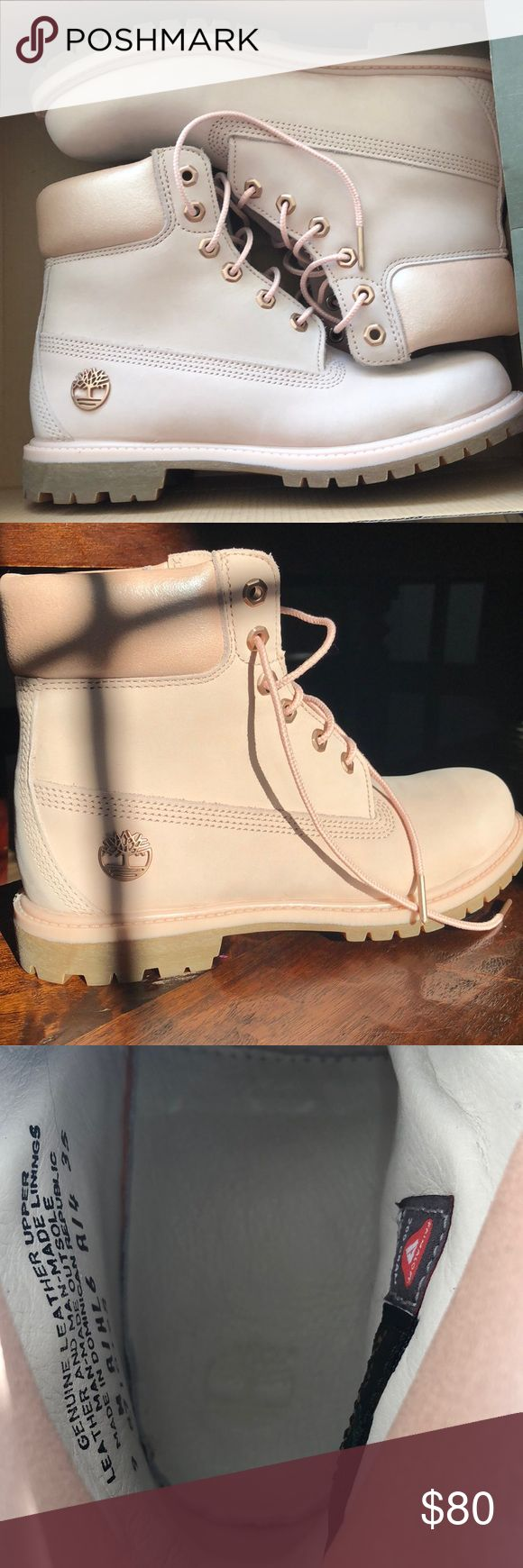 Women's light pink Timberland boots Super comfortable, they are waterproof, and fashionable Timberland Shoes Lace Up Boots