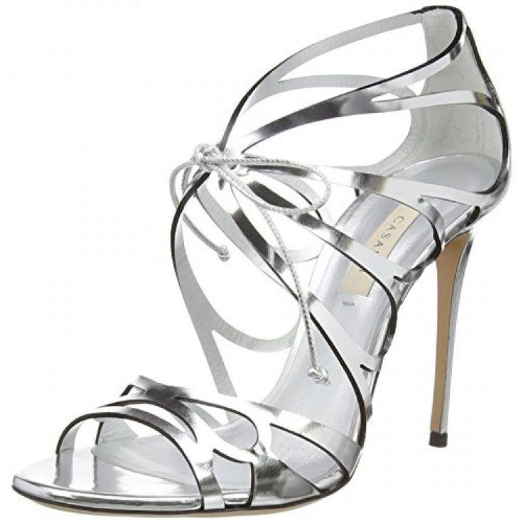 Casadei Women's 1LB20D100.T806P27 Dress Sandal, Barbarella/Tintura Argento/Nero, 37.5 EU/7.5 M US