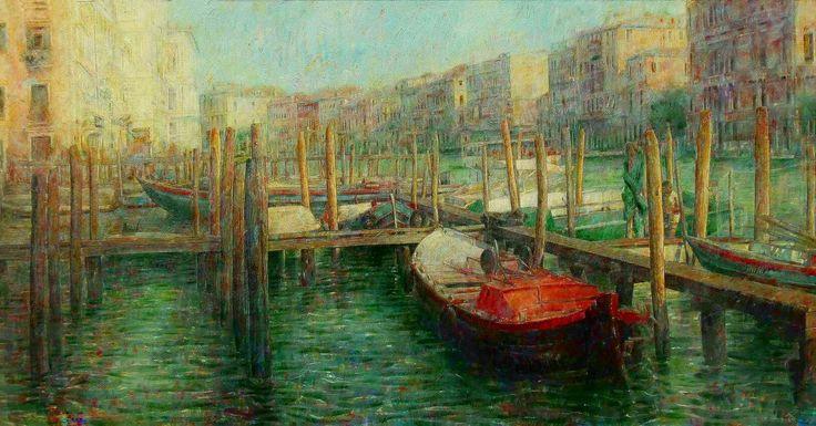 Gran Canal de Venecia. Óleo sobre tabla de 122 x 49 cm.  Gran Canal de Venecia. Óleo sobre tabla de 122 x 49 cm.  Gran Canal de Venecia. Óleo sobre tabla de 1 a 22 x 49 cm.