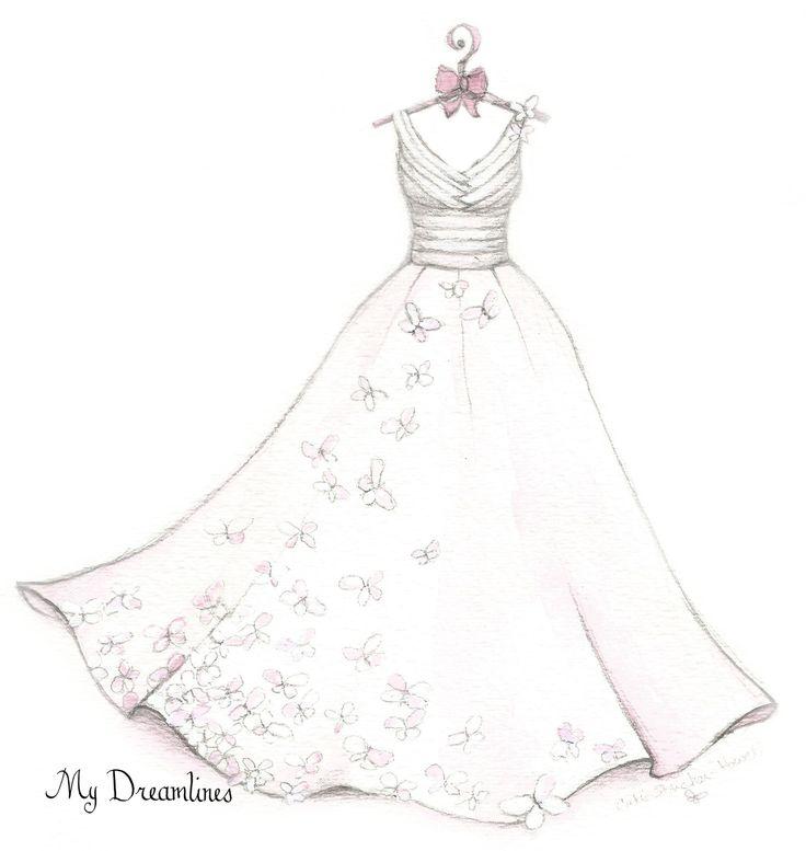 Картинки как нарисовать свадебное платье