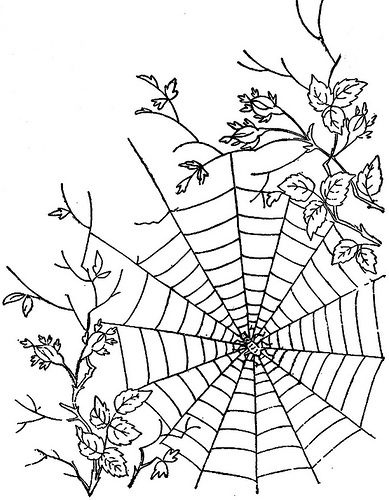 a spider web drawing. Students could easily draw a spider web like this because its simple and not complicated, then it could be projected on a wall or used with water colours like it was done in the orditorium.