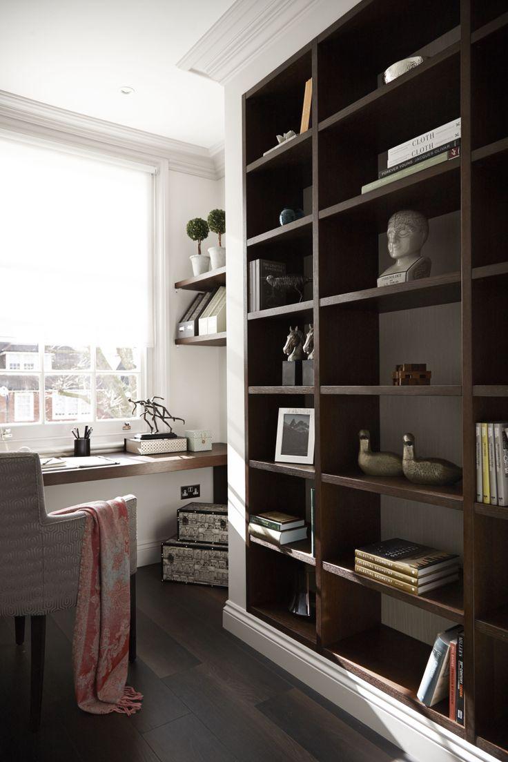 modern bookshelves in a traditional setting