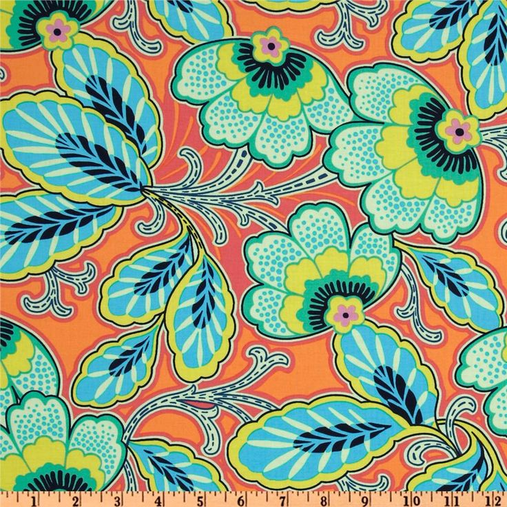 Amy Butler fabric / orange and teal / for living room