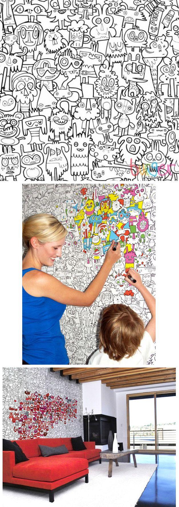 A loja virtual Burger Plex criou um papel de parede para colorir. A ideia simples pode deixar um cômodo de uma casa mais interessante apenas escolhendo as cores e o padrão para pintar. As crianças finalmente serão livres para pintar as paredes do quarto.