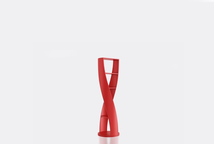 Cylindrical shelf from the collection MYDNA by Joel Escalona, with four shelves and swivel base. Made of wood and heavy-duty fibers. Finished in natural wood or semi-gloss lacquer. - MYDNA Red #Bookcase #furniture #design #shelf #nono #coolinteriors