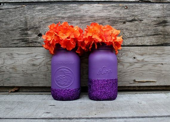 Pair of Glittery Purple Mason Jars - Halloween Decor - Halloween Jars - Painted Vases - Purple Wedding - Glitter Decor - Plum Purple - Fall on Etsy, $20.00