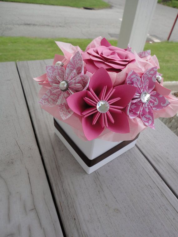 Origami Paper Flower Centerpiece - Kusudama Pink Small Wedding Centerpiece Shower Decor on Etsy, $30.00