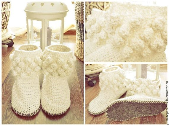 slippers and socks home warm knitted by EmbroideryUniverse on Etsy