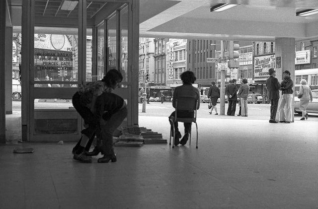 Herald boys skylarking inside princess bridge station (where fed square is now) 1976. by David Wadelton (Northcote Hysterical Society)