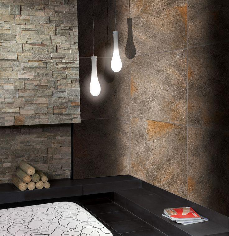 Porcellanato p rfido oscuro 58x58 showroom decoracion for Decoracion piso oscuro