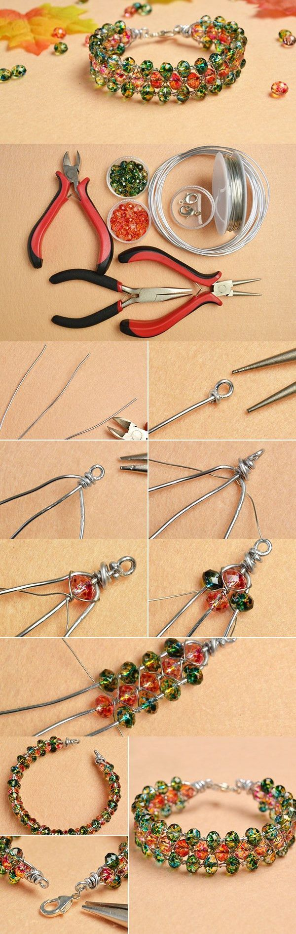 Making a Handmade 3-stand Glass Beads Bracelet with Aluminum Wire