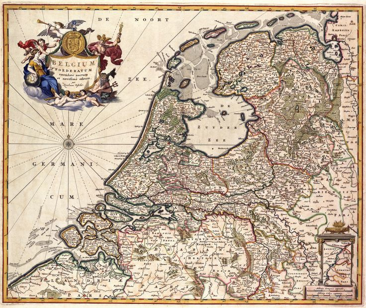 Deze kaart van de Verenigde Nederlanden werd uitgegeven door Nicolaas Visscher I (1608-1679). Het is een nieuwe uitgave van een kaart die eerder in de 17de eeuw door zijn vader Claes Jansz. Visscher (1587-1652) was gepubliceerd.  Rechtsonder een inzet van Zuid-Limburg