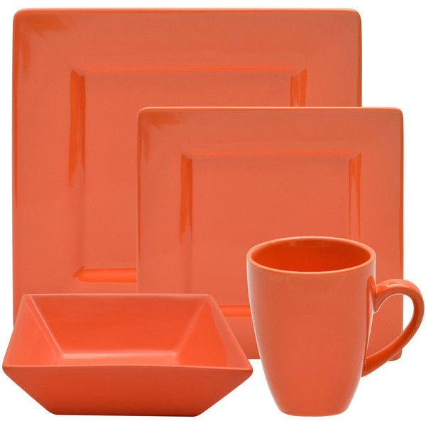 10 Strawberry Street Vivo 16-piece Orange Square Dinner Set ($64) ❤ liked on Polyvore featuring home, kitchen & dining, dinnerware, orange, porcelain dinner plates, outdoor plates, porcelain cups, square dinnerware and everyday dinnerware