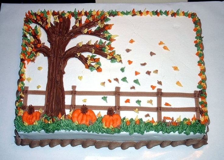 Fall Theme Cake. Might be cool for fall birthday cake!