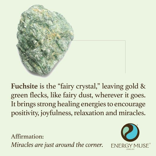 "Fuchsite is the ""fairy crystal,"" leaving gold and green flecks, like fairy dust wherever it does. #fairy #crystals"