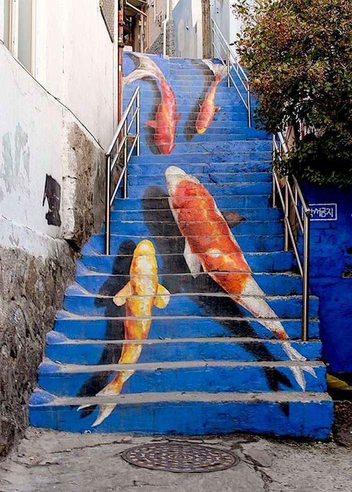 """Streetart: """"Take The Stairs"""" – Beautifully decorated and painted Steps (8 Pictures) > Design und so, Film-/ Fotokunst, Paintings, Streetstyle, Travel, urban art > public art, railways, stairs, steps, streetart"""