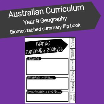 This resource is designed to assist students with summarising their knowledge and understanding of the worlds major biomes and their geographical characteristics. Each page of the booklet provides headings to assist with guided note taking and the mapping page provides an opportunity for