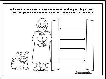 Old Mother Hubbard rhyme and coloring page.
