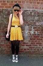 Black-converse-shoes-yellow-h-m-dress-black-h-m-hat-black-vintage-cardigan.