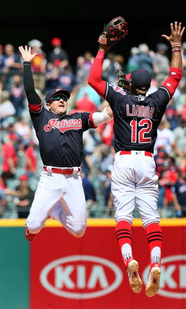 Cleveland Indians Daniel Robertson and Francisco Lindor celebrate the 8-0 win over the Oakland Athletics at Progressive Field, Cleveland, Ohio, on June 1, 2017. (Chuck Crow/The Plain Dealer).