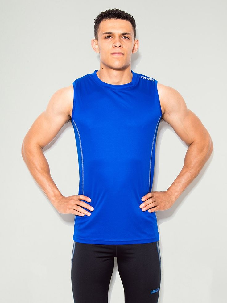 Usn Reflex Sleeveless Gym Top In Signature Blue Features Wear Logo Print On Back And Bottom Hem