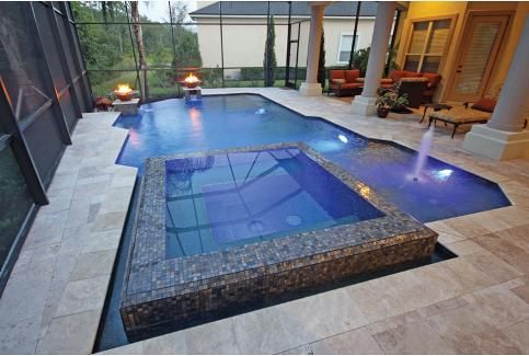 Linear pool with raised perimeter overflow spa aquatech for Spa builders