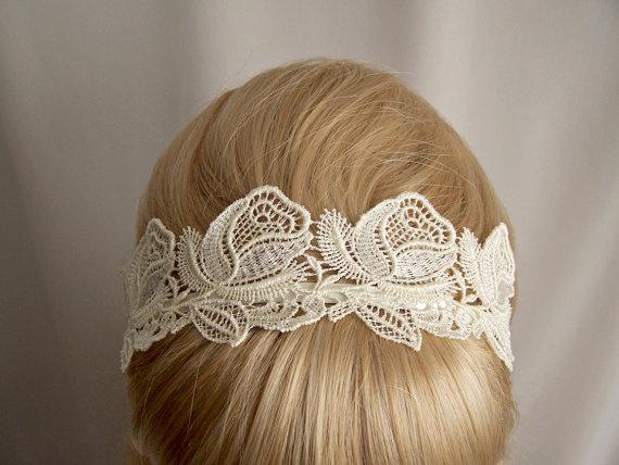 ivory lace headbandRose Lace, Hairstyles, Crochet Rose, Lace Headbands, Beautiful, Head Band, Hair Accessories, Headbands Ivory, Lace Headband3