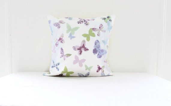 Pastel butterfly cushion cover cotton pillow by KimsHandmadeCave