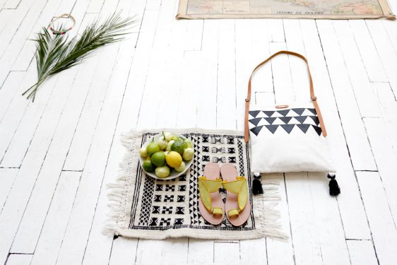 wood and woven, white and graphic. Polder, size to small