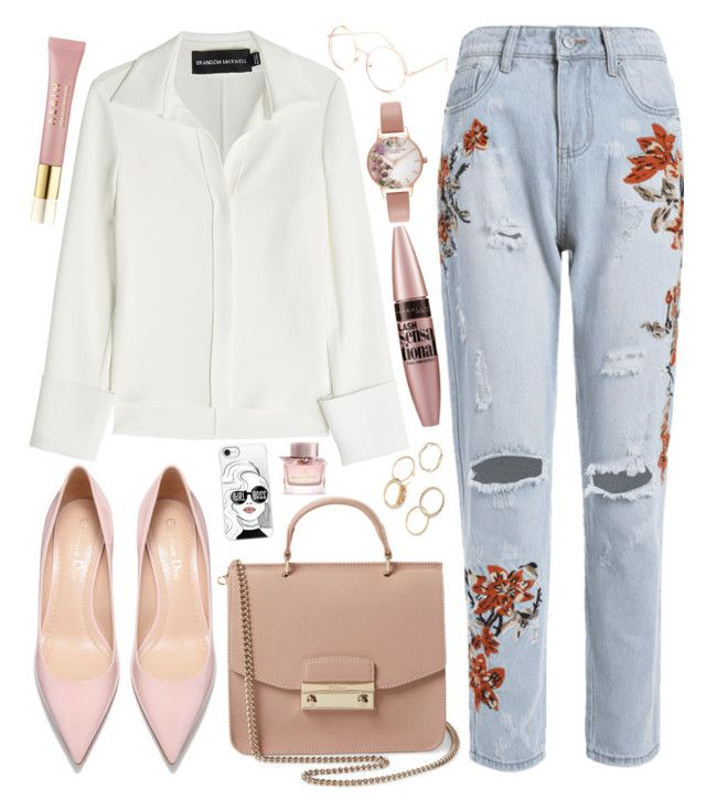 Untitled #769 by natallie on Polyvore featuring polyvore, fashion, style, Brandon Maxwell, Furla, Olivia Burton, Casetify, Full Tilt, Maybelline, Burberry, AERIN and clothing