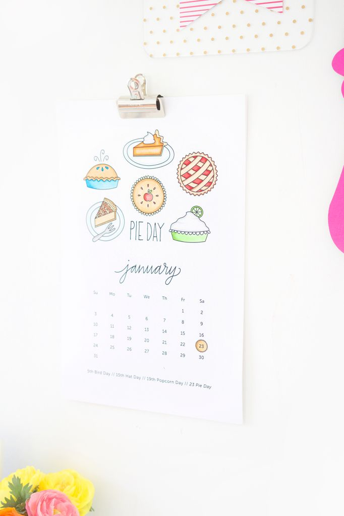 Calendario 2016 super cute para colorear Gratis