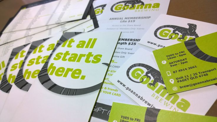 Our General Information Brochure, Membership Flyer, Business Cards and Menu by @saratheinkling (Inkling About Design) - all you need to know to get started at Goanna Brewing!!!