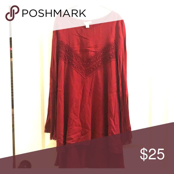 Juniors long sleeve dress - XS only worn once! color: deep red/burgundy would look cute dresses up or down with leggings and boots! miami Dresses Long Sleeve