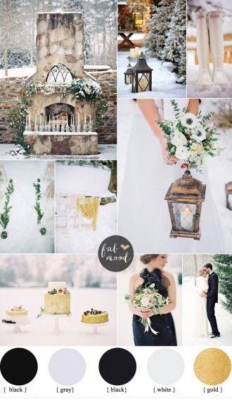 Outdoor Winter Wedding { Black and Gold wedding colors } fabmood.com #winterwedding