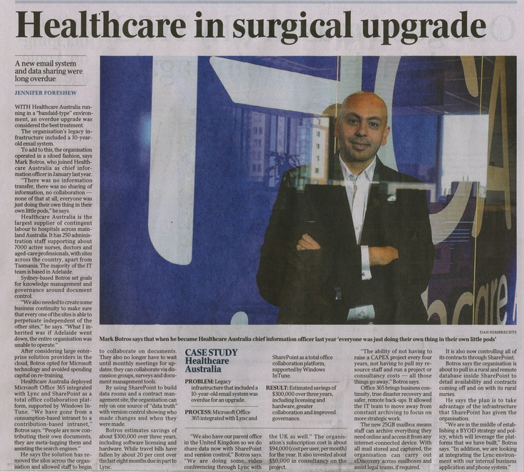 Check out this article of Healthcare Australia and Microsoft working together that will benefit all of our employees!