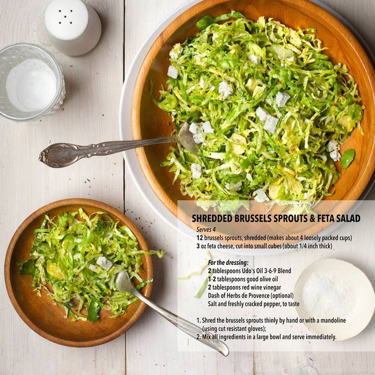 Shredded Brussels Sprouts and Feta Salad incorporating Udo's Oil in the dressing.