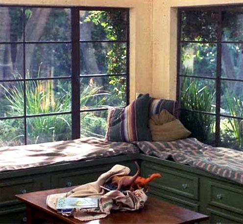 Corner window seat with storage underneath, ...