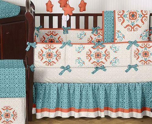 Turquoise Orange Moroccan Baby Bedding Crib Set For