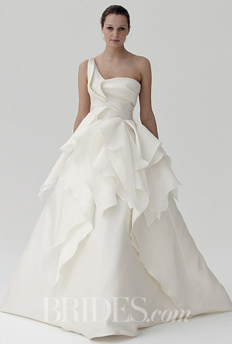 A structured, one-shoulder @peterlangner wedding dress | Brides.com