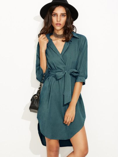 Green Self Tie High Low Curved Hem Shirt Dress