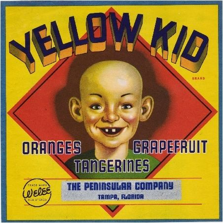 Tampa Florida Yellow Kid Orange Citrus Fruit Crate Label Art Print | eBay