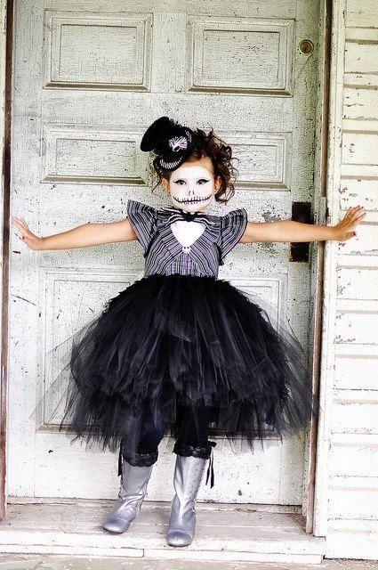 2014 Halloween kids Jack Skellington nightmare before christmas makeup - face painting, tutu dress #2014 #Halloween