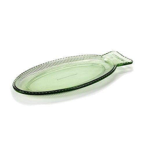 Fish & Fish Visschaal Plat is gemaakt van geperst glas in Transparant Groen…