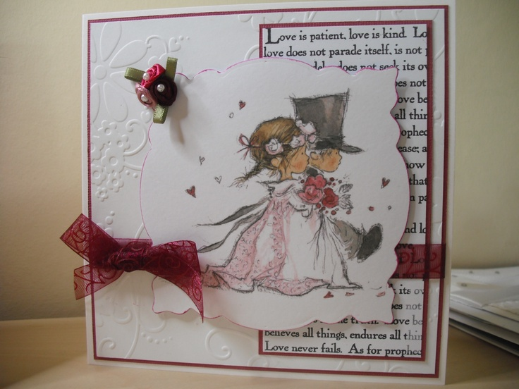 """wedding card with LOTV topper.  back panel stamped with """"Corinthians"""" stamp from Claritystamp"""