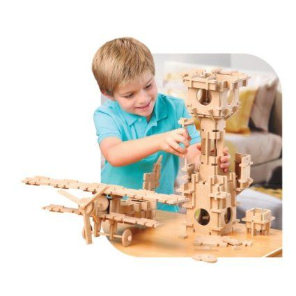 Amazon.com : TreeHaus Slotto Wooden Construction Set : Discovery Kids : Toys & Games
