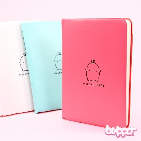 Let the adorable Molang and illustrations on this schedule book's pages cheer up your days! The schedule book has faux leather covers and lots of pages for you to plan and take notes. This size is perfect to be used at school! Korean design. Choose from 3 different colors!